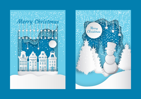 Merry Christmas cut out greeting card with city buildings. Winter landscape, snowman on hill in hat, forest with white spruces, snowfall vector papercut