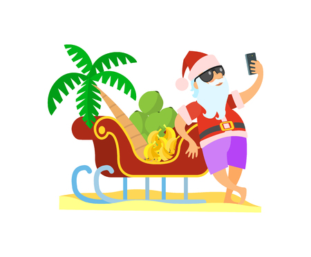 Santa standing near sleigh with palmtree and bananas and shooting yhimself in glasses and red hat. Christmas vector image in flat style isolated on white Illustration