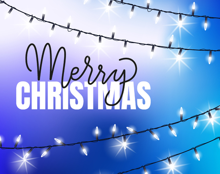 Merry Christmas blue background with glittering garlands. Vector bright lights, bulbs on thread, winter holiday decoration elements sparkling, realistic design Vector Illustration