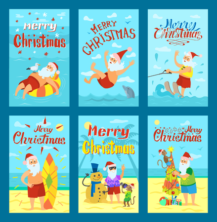 Vector holiday illustration of Santa Claus standing on beach and swimming in sea. Cheerful cartoon character for Merry Christmas design card template Illusztráció