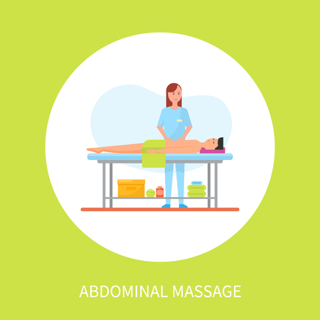 Abdominal medical massage session cartoon vector poster in circle. Standing masseuse in uniform massaging patient lying on table covered by towel 일러스트