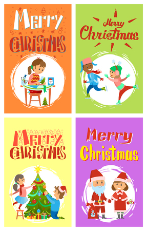 Merry Christmas holidays girl making handmade presents, children skating on ice rink, kids decorating Xmas tree. Vector of Santa Claus and Snow Maiden