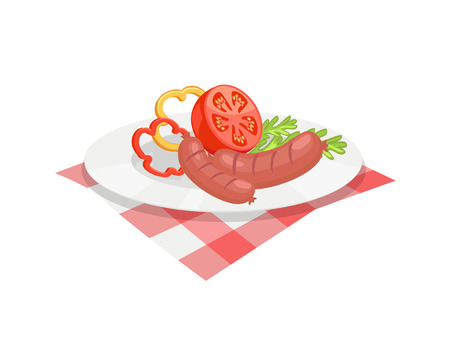 BBQ set, sausage for barbecue on plate, cartoon isolated vector icon. Grilled frankfurter with sliced tomato, pepper and herbs in dish on tablecloth