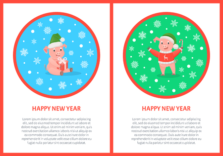 Happy New Year pig holiday design postcard. Colored round frame with snowflakes and text. Christmas piglets with candy and gifts vector greeting cards