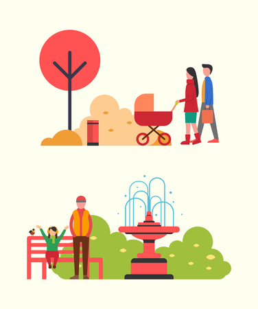People strolling in autumn park, family with pram vector. Man and woman with newborn kid, father and daughter sitting on wooden bench by fountain