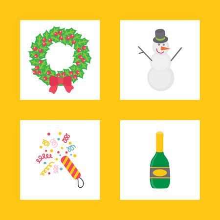 Christmas signs for party in flat style on yellow. Wreath with snowman and colorful confetti with bottle of champagne, vector cartoon illustrations