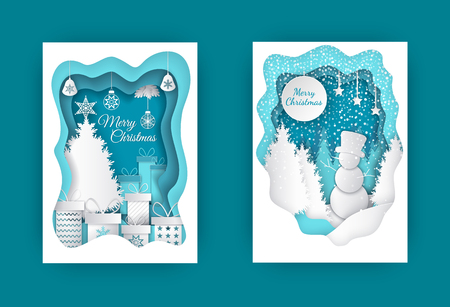 Merry Christmas paper cut with snowman and tree vector. Bauble and star on pine top, presents in decorative boxes, giftboxes and winter character in hat