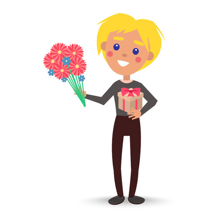 Smiling child with gift box and bouquet of flowers vector illustration. Blond boy with presents for women s day isolated on white Illusztráció