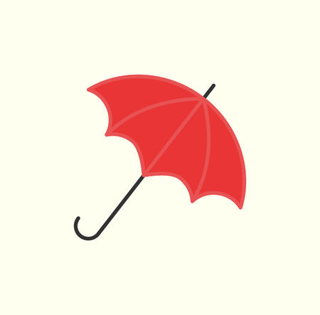 Red Umbrella Isolated on White Vector Open Parasol Ilustracja