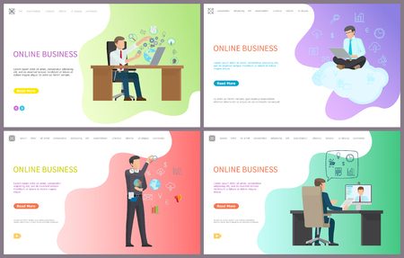 Online business, businessman working with laptops boss at job vector. Leader of company interacting with data, globe cogwheel, cloud and conference Illustration