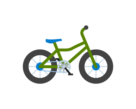 Bicycle closeup, bike with wheels isolated icon vector. Transportation of people loving healthy lifestyle and active life. Vehicle with pedals cycling Illusztráció
