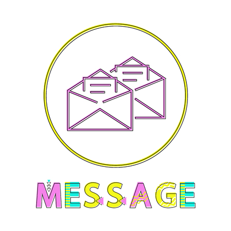 Message post mails in opened envelopes. Information written on paper postal correspondence icon in circle with colorful text fonts isolated on vector