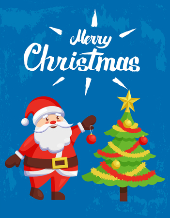 Merry Christmas poster with Santa Claus greetings. New Year tree decoration with balls, tinsel and star, best wishes father Frost, greeting card on blue Ilustração