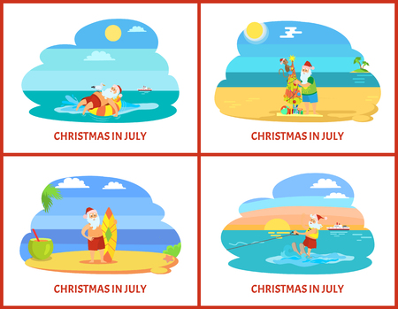 Cartoon illustrations on beach in July. Santa on plage standing with surf and fir-tree, going water skiing on sunset and laying on rubber ring vector