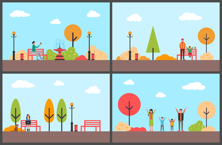 Autumn season, fall park with relaxing people vector. Family of mother, father and children fun, woman working on laptop, freelancer distant worker