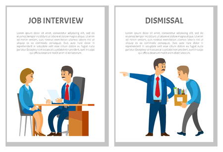 Job interview and dismissal of employee posters with text sample vector. Employment and discharge, candidate to new vacant post in office job, leader