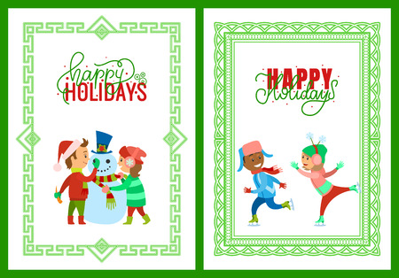 Merry Christmas happy holidays framed posters vector. Children building snowman put hat with mistletoe plant. Kids boy girl figure skating on ice rink