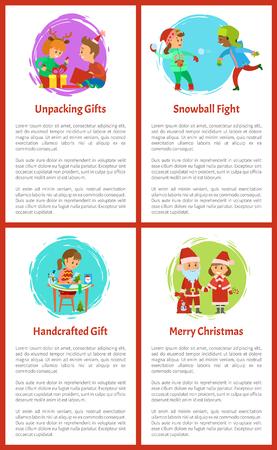 Unpacking Gifts, Children on Winter Vacations Zdjęcie Seryjne - 113463175