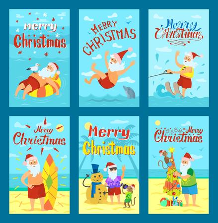 Seascape Merry Christmas postcard template Vector Stock Photo