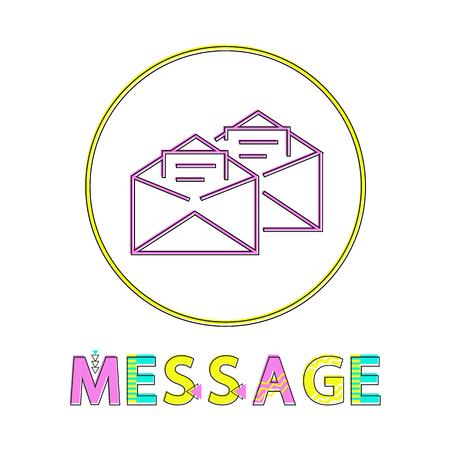 Message Mails in Envelopes Vector Illustration