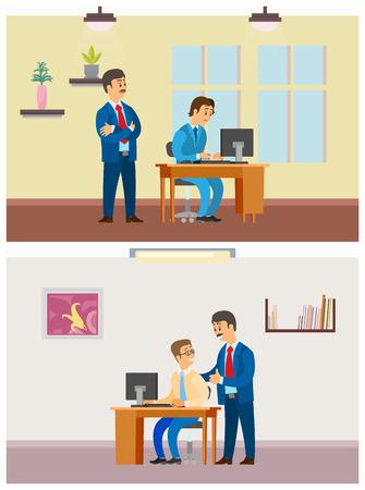 Boss Supervising New Worker by Laptop, Office Job Stock fotó