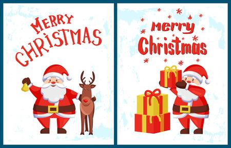 Merry Christmas Lettering, Santa Claus Deer Helper