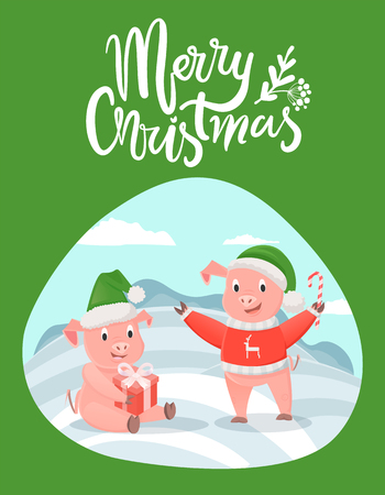 Merry Christmas Lettering Wishes and Piglets Gifts