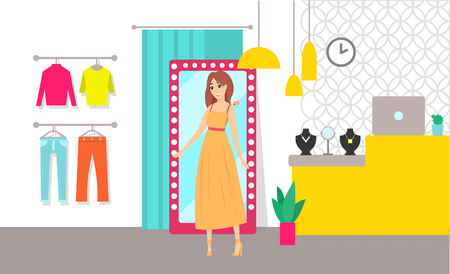 Shopping Woman Trying Dress Clothes Store Vector Stock Photo