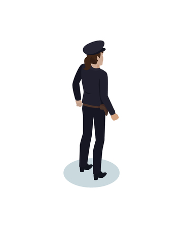 Isometric Policewoman in Overall and Gun Holster