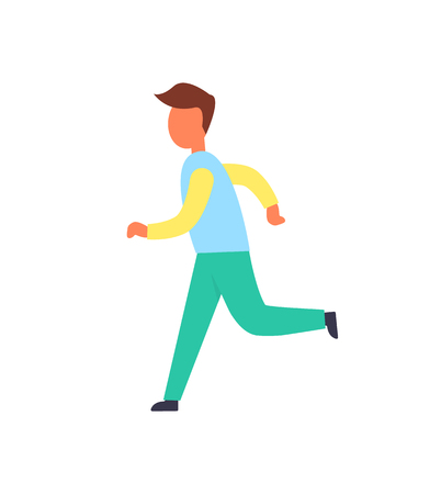 Runner Male Active Person Vector Illustration