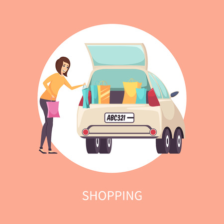 Shopping Female Shopaholic Woman with Bags Vector