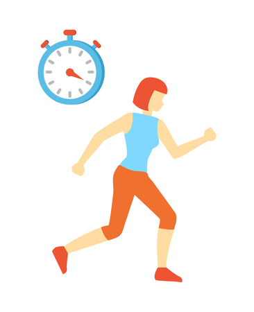 Woman Running and Clock Icon Vector Illustration 스톡 콘텐츠
