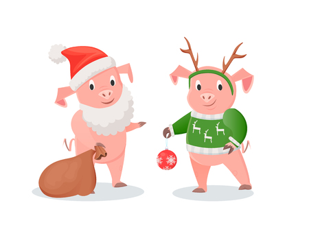 New Year pigs in Santa and deer costumes set. Farm animals in hat and beard or deer horns with knitted sweater, gifts sack and ball vector illustrations Illustration