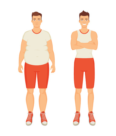 Man sportive and fat person isolated icons set vector. People with different body types. Obesity and sport guy smiling, healthy human happy of it