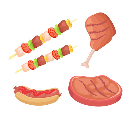 BBQ barbecue roasted meat beef and chicken isolated icons vector set. Skewer with vegetables and hot dog fresh bun with sausage and sauce ketchup Иллюстрация