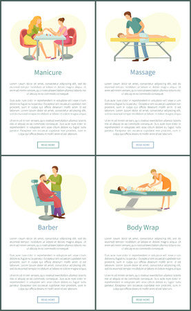 Manicure manicurist and massage masseur man with client. Healing and relaxing procedures. Barber and body wrap of les, posters with text sample vector