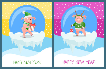 New Year greeting card, pigs on winter snowy landscape wishes Happy holidays and Merry Christmas. Piglet in warm winter hat,, vector on icy cliff in ball