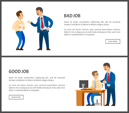 Bad and good job vector poster, unsatisfied boss claiming frustrated worker with improperly done work. Leader businessman praising employee at workplace Illusztráció