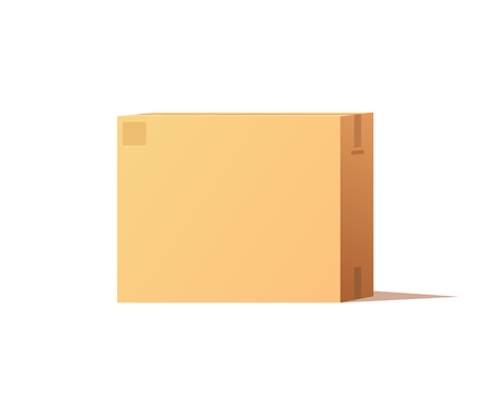 Empty Closed Box Mockup, Post Container for Goods Standard-Bild - 113673056