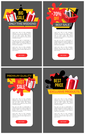 Present boxes in shopping basket, promotional sellout and clearance, price fall tags. Hot sale, big offer on exclusive products set vector web site templates.