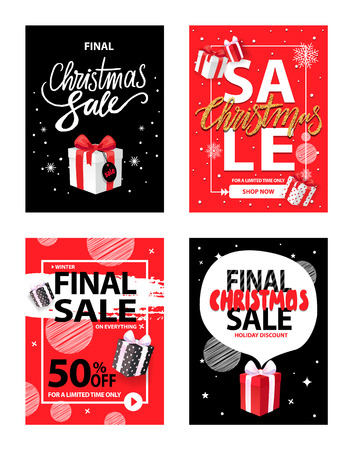 Big Christmas holiday sale, winter discounts set vector. Reduction of goods cost, 50 percent lowering on presents and gifts with bows ribbon decoration