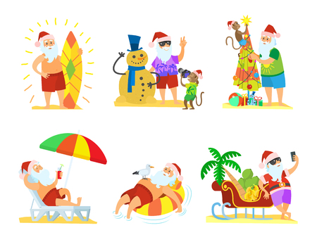 Christmas cartoon winter images collection with Santa standing near fir-tree and shooting near snowman and sleigh and laying on chaise-lounge vector Illustration