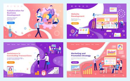 Team-Meeting-Vektor für die Geschäftsentwicklung der Zusammenarbeit. Menschen, die über Werbestrategien und Marketingideen brainstormen. Konferenz der Programmierer Vektorgrafik