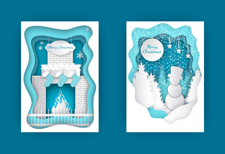 Merry Christmas cut out cards snowman in forest and fireplace with burning fire, decorated by Santa socks and fir tree branches. Vector brochures design