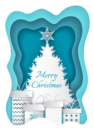 Merry Christmas Paper Fir-tree and Presents Vector Illustration