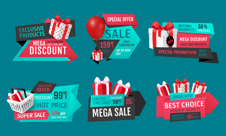 Mega discount, exclusive product on sale banners set vector. Presents in shopping basket, inflatable balloon bought on special shop offer proposition