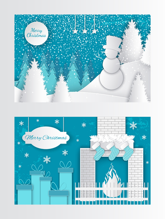 Merry Christmas cut out greeting card fireplace with socks and gifts on New Year eve. Winter landscape, snowman on hill in hat, forest with white spruces
