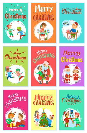 Merry Christmas wintertime activities, children playing snowballs, making handmade gifts, writing letter to Santa, skating and telling wishes, open boxes, vector Standard-Bild - 126964856