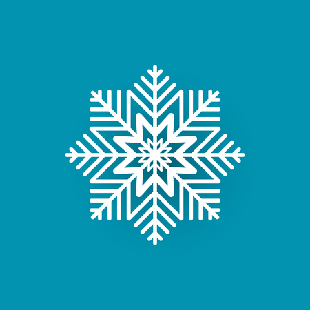 Snowflake Cut Out Icon Isolated on Blue Wintertime Stock Photo