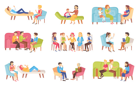 Psychotherapy people talking about problems with doctor vector. Family problems solving, mother and son, depressed lady crying, women discussing topic Illustration